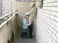 Сестра сосёт брату на балконе